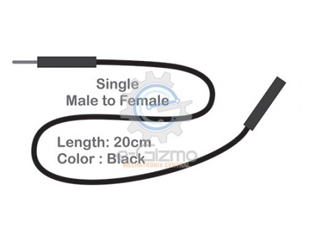 Male to Female Single Connecting Wire 20cm Black