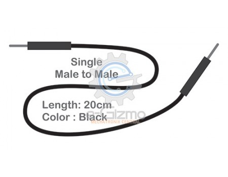 Male to Male Single Connecting Wire 20cm Black