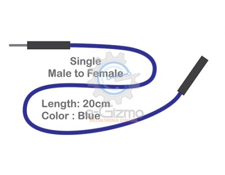 Male to Female Single Connecting Wire 20cm Blue