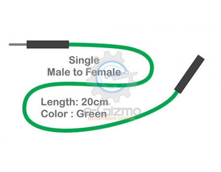 Male to Female Single Connecting Wire 20cm Green