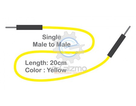 Male to Male Single Connecting Wire 20cm Yellow