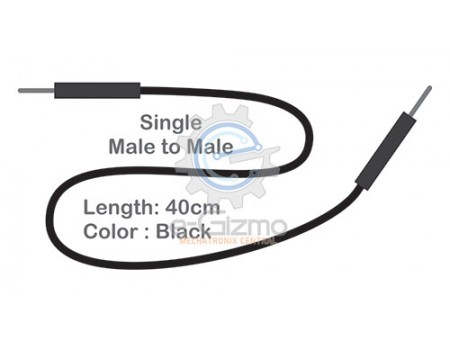 Male to Male Single Connecting Wire 40cm Black