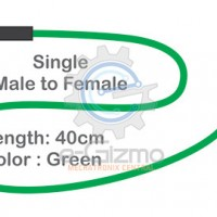Male to Female Single Connecting Wire 40cm Green