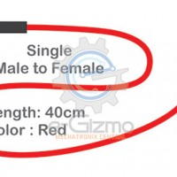 Male to Female Single Connecting Wire 40cm Red