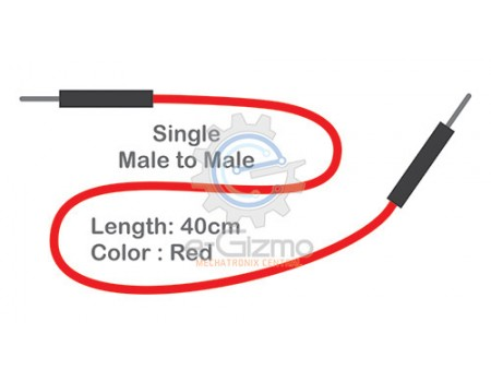 Male to Male Single Connecting Wire 40cm Red