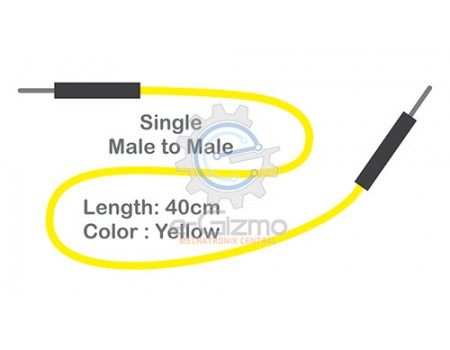 Male to Male Single Connecting Wire 40cm Yellow
