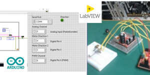 LabVIEW + gizDuino UNO-SE: Controlling a DC Motor with potentiometer using Hulkster Motor Driver