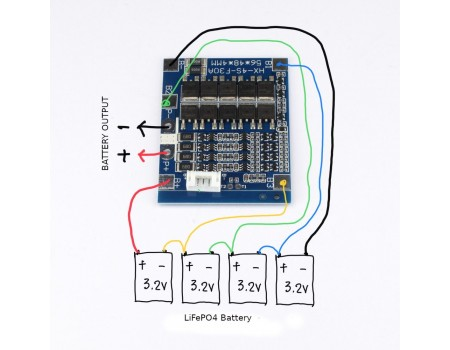 4S 30A LifePo4 BMS Protection and Charge Balancing Module