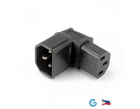 Right Angled M/F IEC 320 Adapter C14 to C13 AC 3 pins